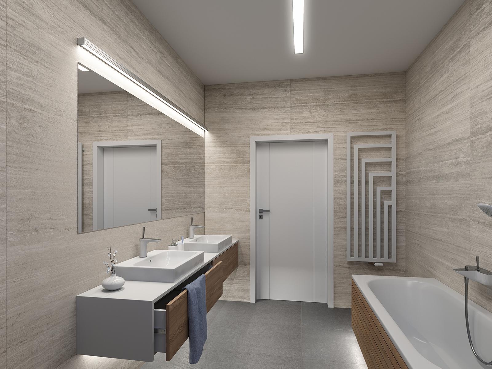 LED szalag profil ötletek: világítás a fürdőszobában