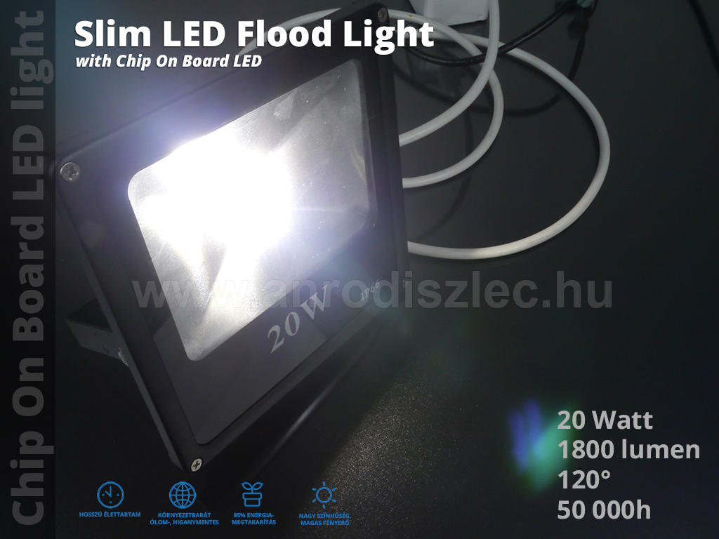 optonica slim led reflektor 20 watt cob 120 term szetes. Black Bedroom Furniture Sets. Home Design Ideas