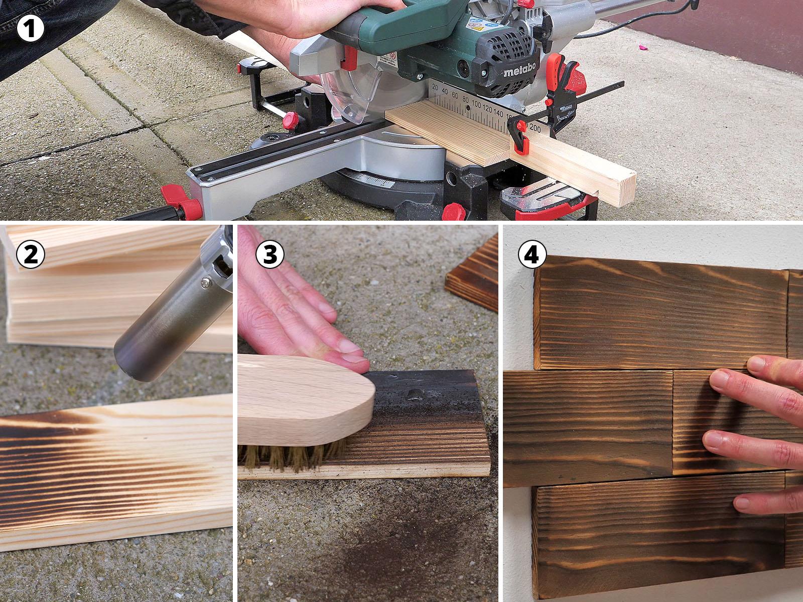 Égetett fa falburkolat készítésének lépése
