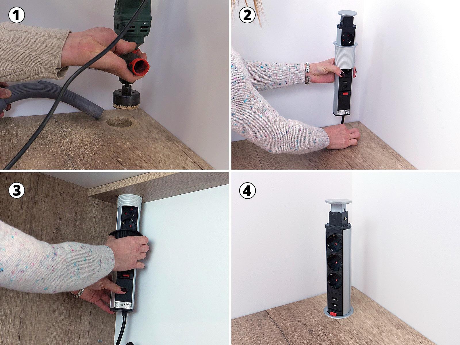 A bútorba építhető elosztó beépítése nem ördöngősség. Legfőképpen egy körkivágó fűrész és egy konnektor kell a beüzemeléshez.