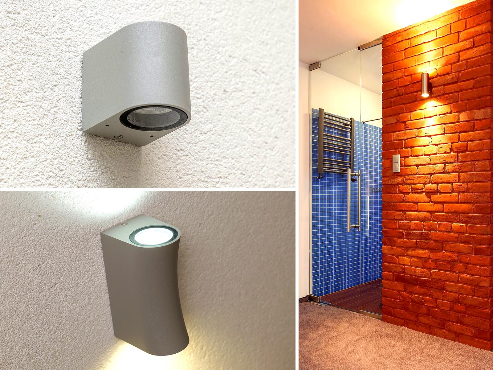 Egy- és kétirányú lámpák a fal dekoratív megvilágításához.
