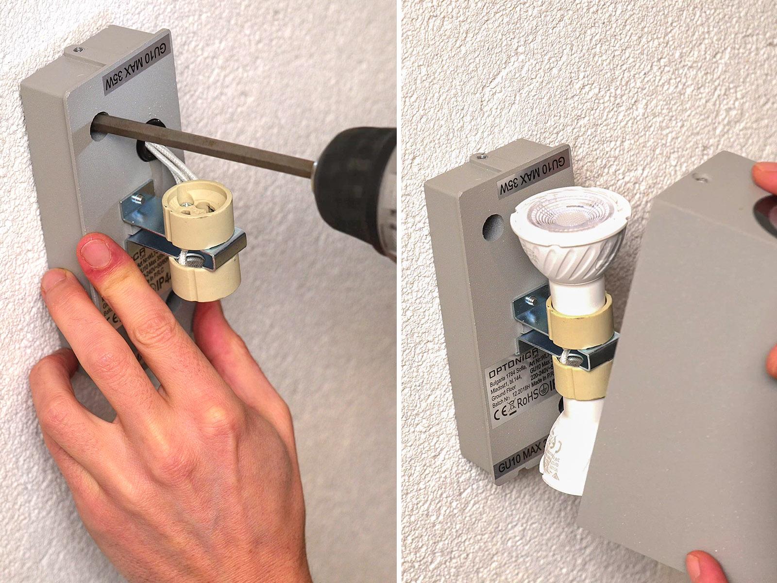 Praktikus GU10 foglalat, melyben házilag is egyszerűen végrehajtható a fényforrás cseréje.