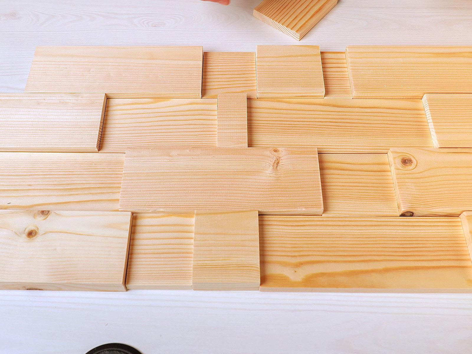 A natúr fa lécekből is könnyen elkészíthető a 3D burkolat, mindössze eltérő vastagságú fára van hozzá szükség.
