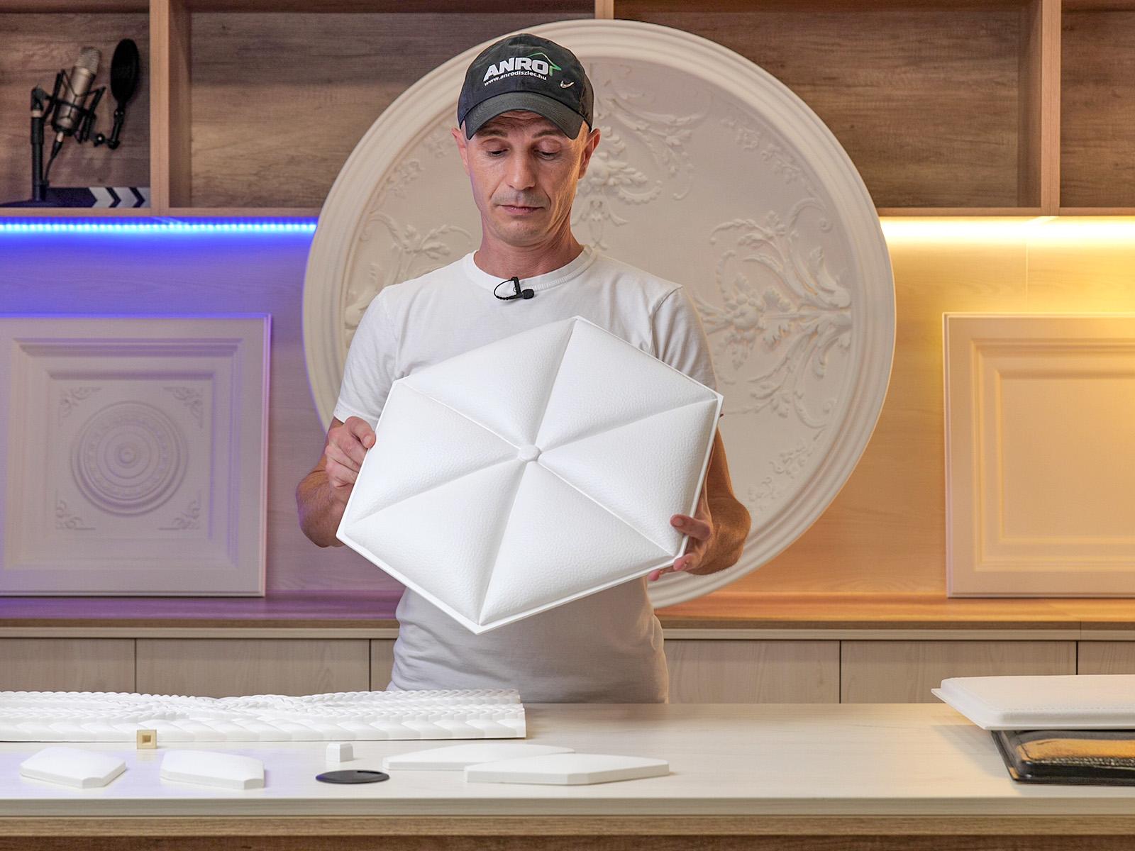 Hatszög alakú falpanel, bőr hatású felülettel (W332)