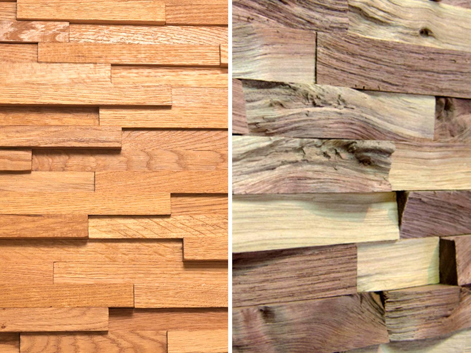 Bal oldalon a gyalult, jobb oldalon a hasított felületű Wallure falpanel látható.
