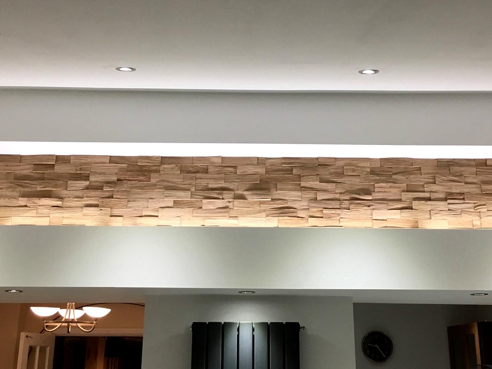 3 dimenziós fa dekor burkolat ledes megvilágítással.