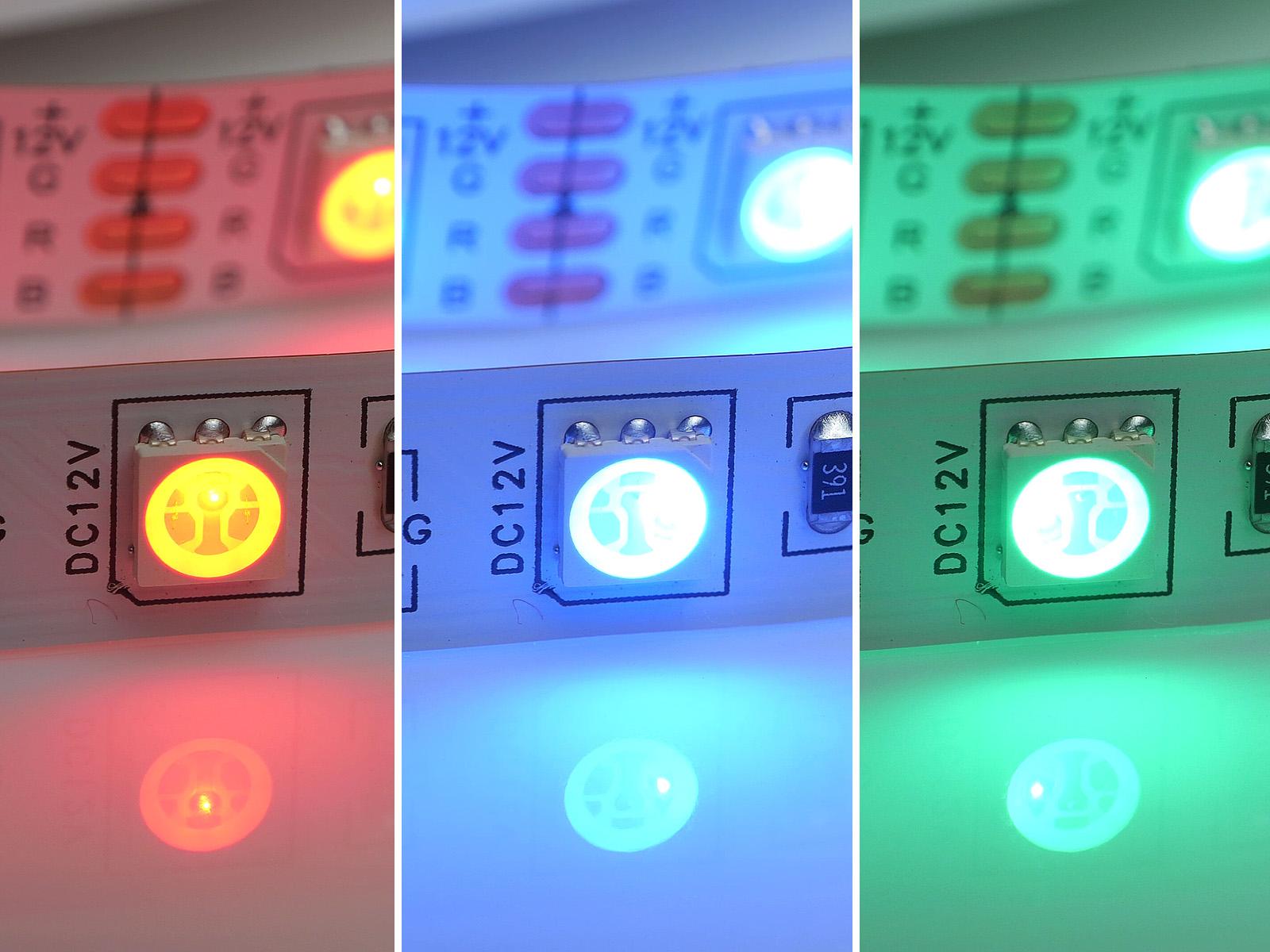 RGB LED szalag piros, zöld és kék fényt adó chipekkel, melyekből fehér fény is kikeverhető.