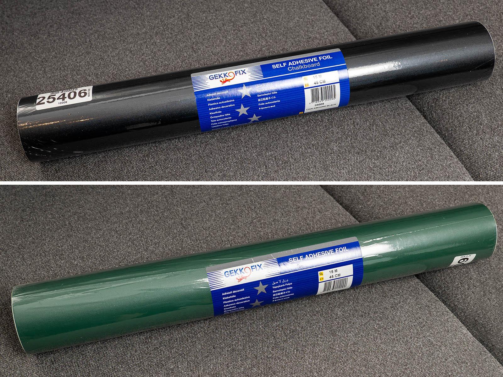 Gekkofix krétával írható öntapadós fólia, 15 méteres tekercsben, fekete és zöld színben.