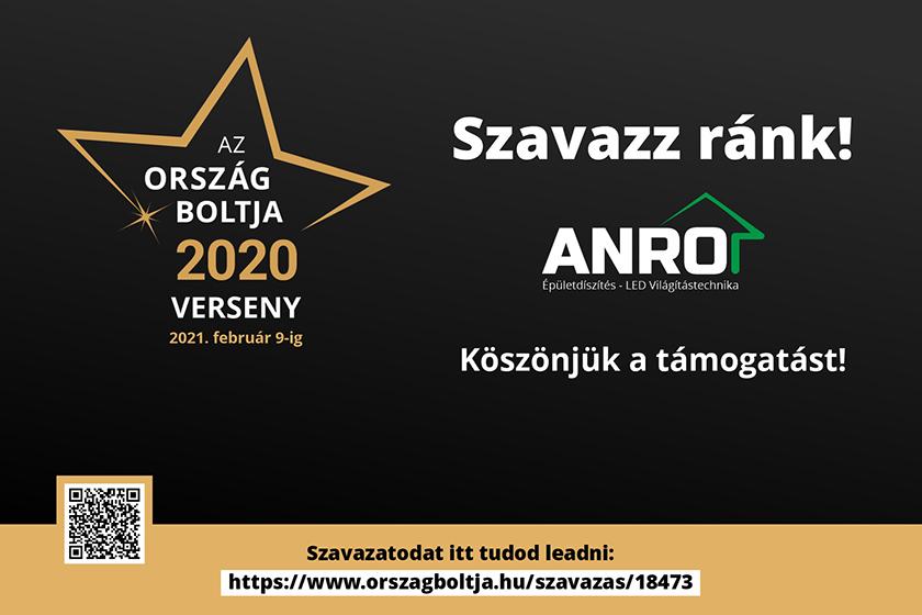 Ország Boltja 2020. Szavazz az ANRO Webáruházra!