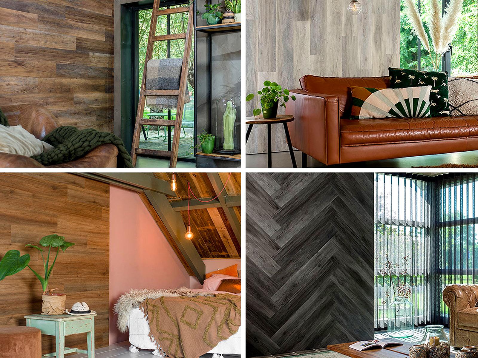 Wood Look deszka utánzatú vinyl falburkoló panel ötletek.