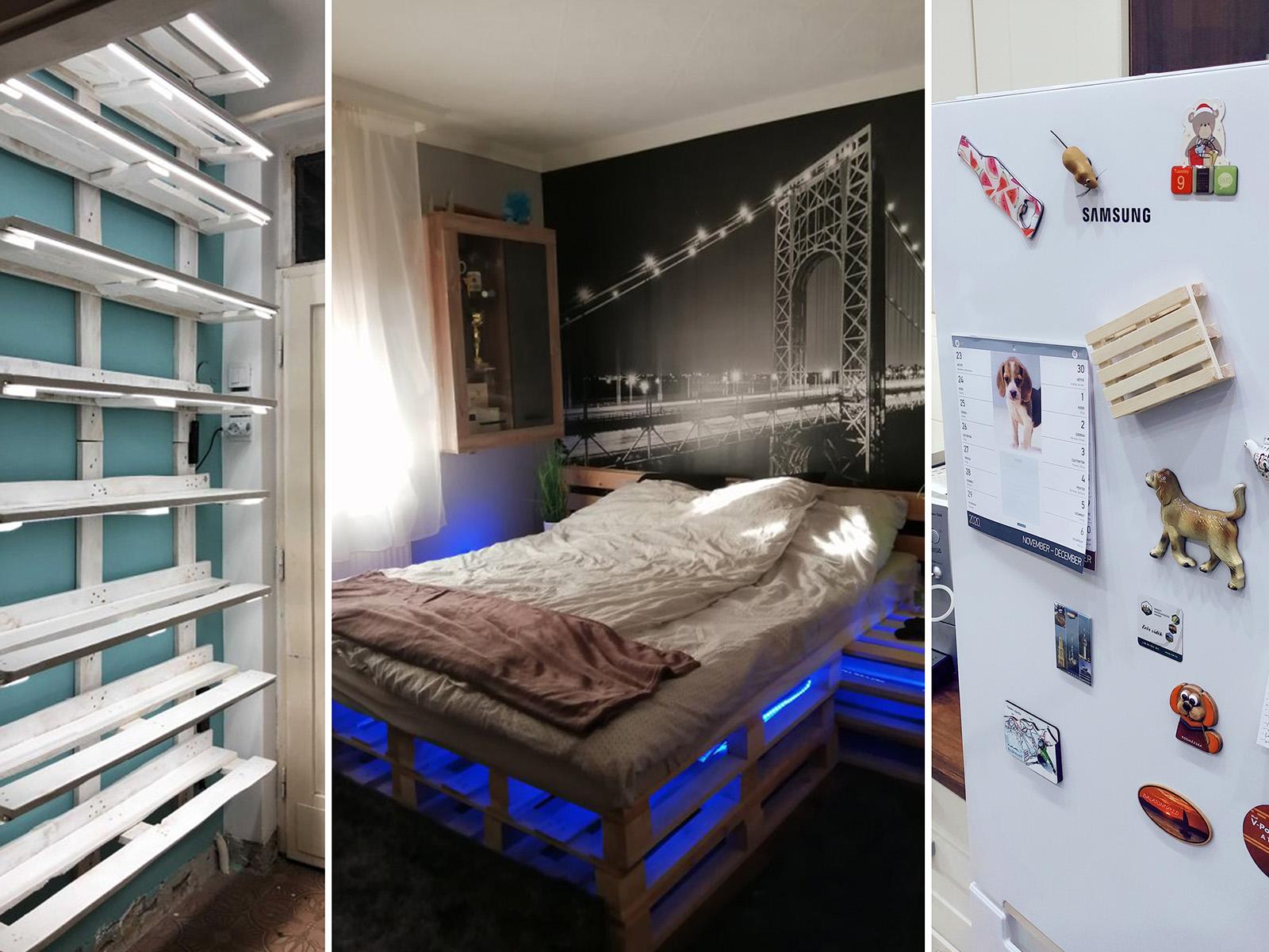 A raklap újjászületése előszoba polc, franciaágy és hűtőmágnes formájában.