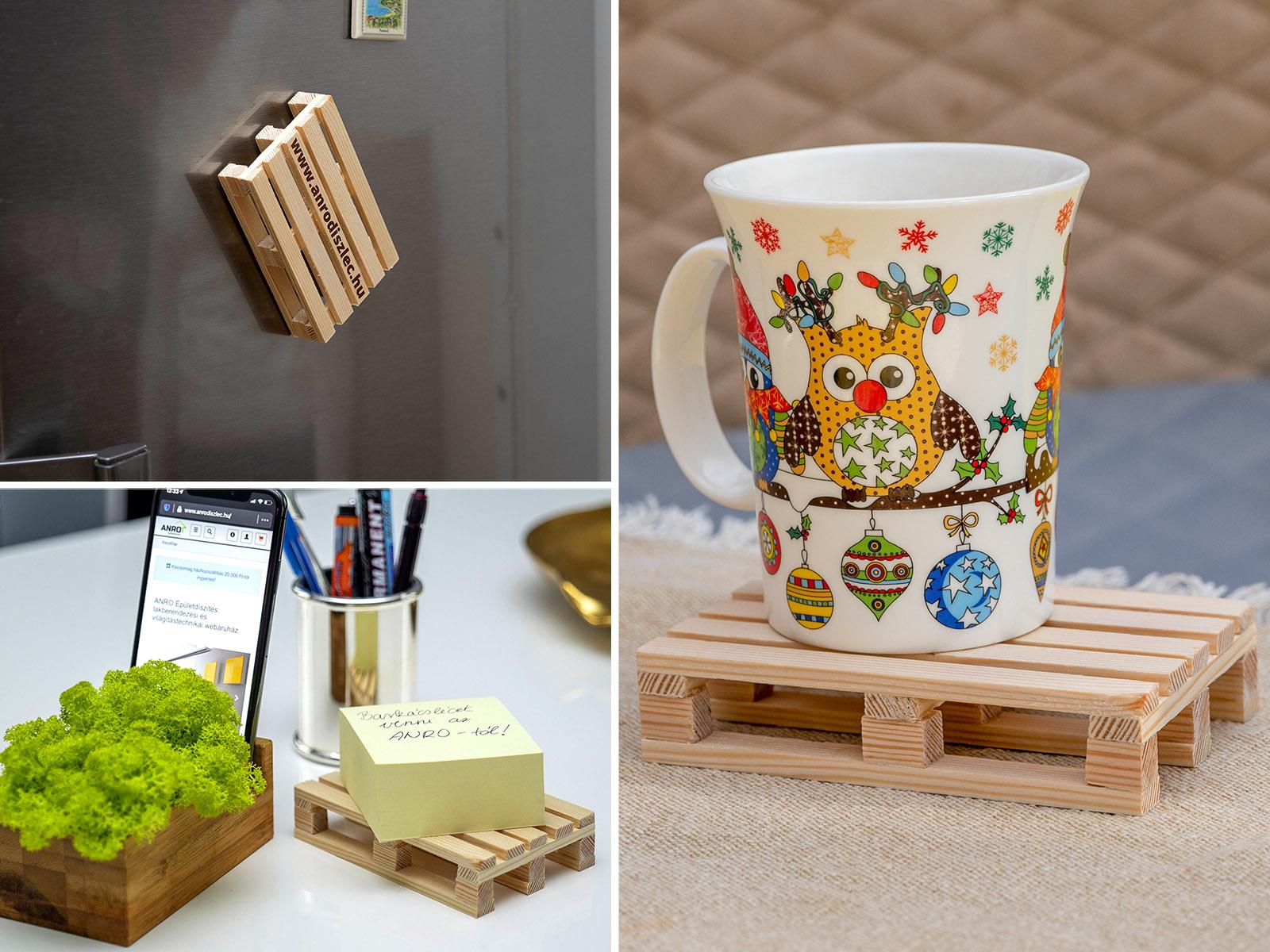 Két ötlet a mini raklap felhasználására: irodában reklámhordozó, otthon pedig poháralátét.