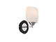 Elmark Cecil fa-króm falikar - szimpla (1xE27) - fehér üveg bura