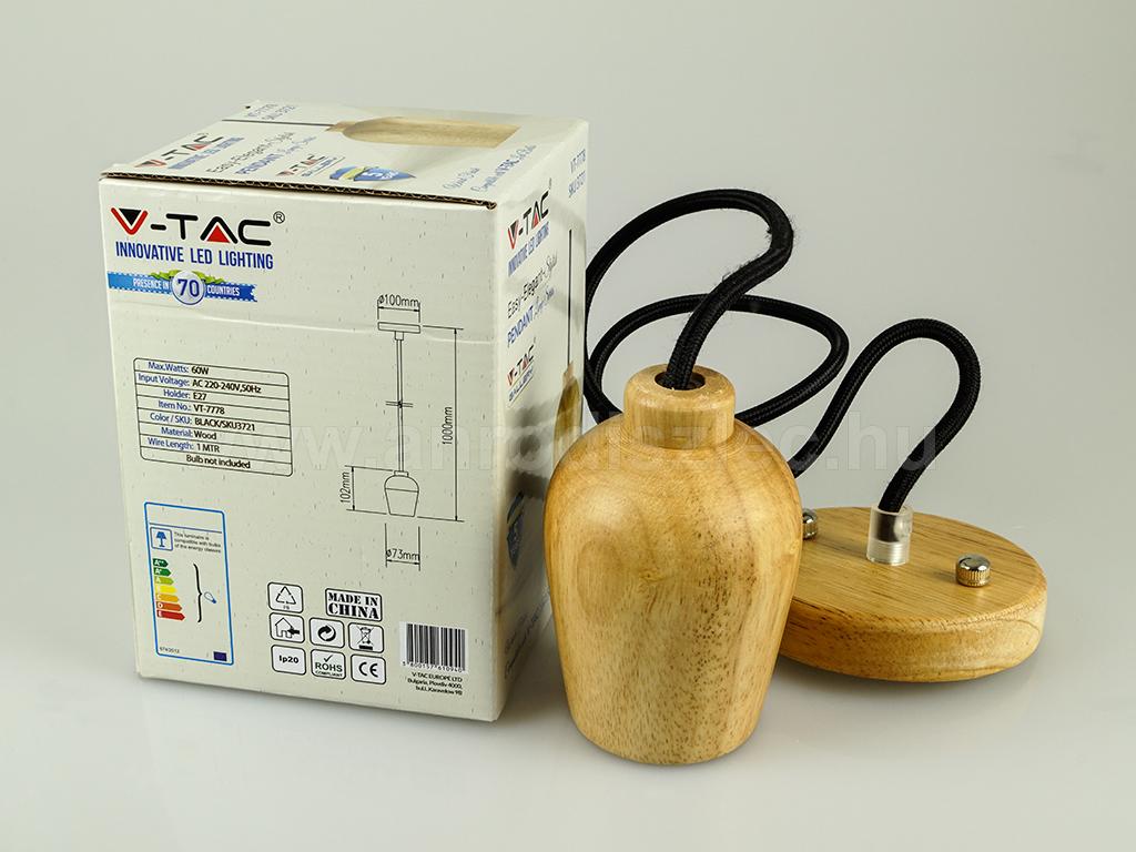 V-TAC csillár 3721 (E27 foglalat) - fa burával