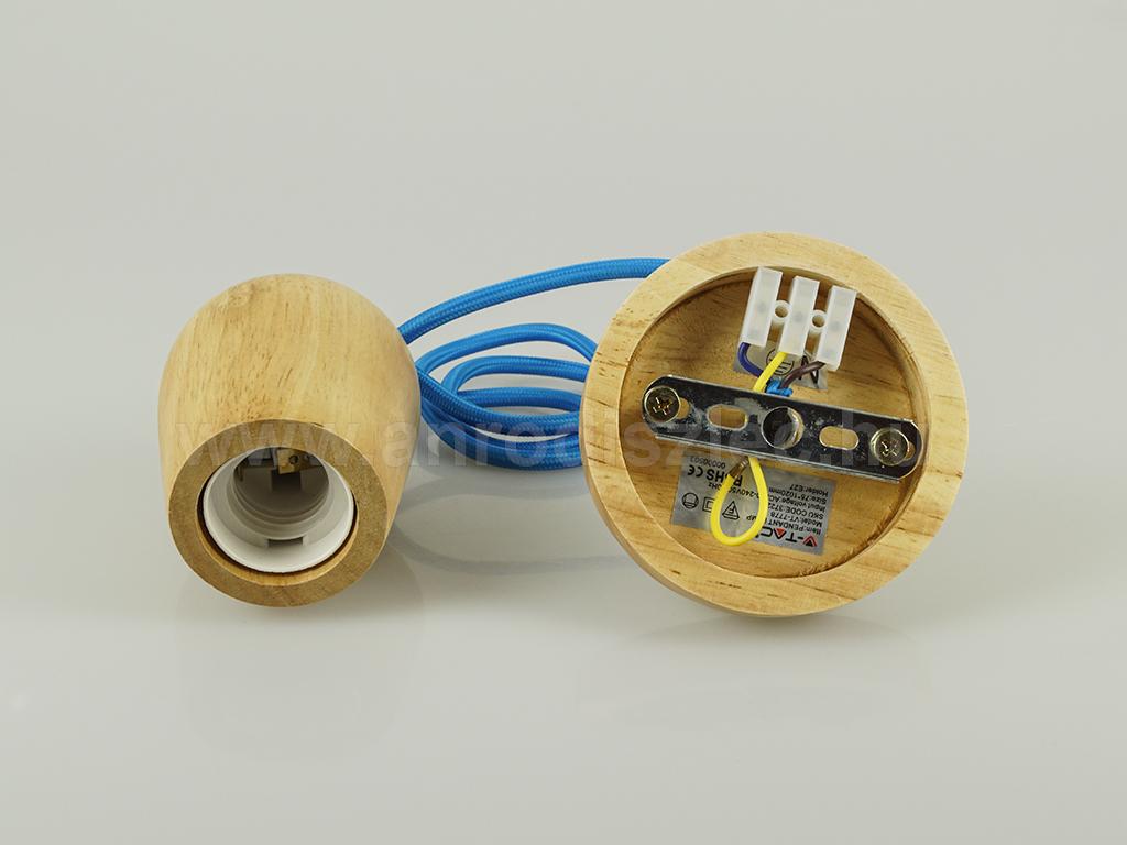 V-TAC Fa burás lámpa E27 foglalattal, kék színű vezetékkel