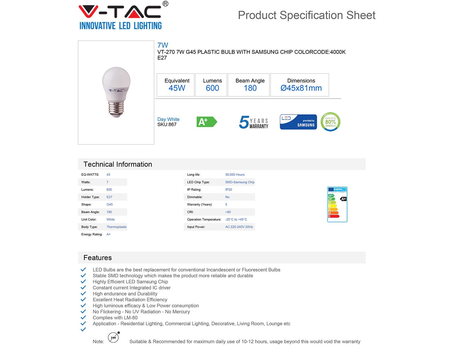 V-TAC E27 LED lámpa (7W/180°) Kisgömb - természetes fehér, PRO Samsung