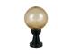 Total Green Gömb alakú kerti lámpa E27 - alacsony oszlop borostyán burával (200 mm)
