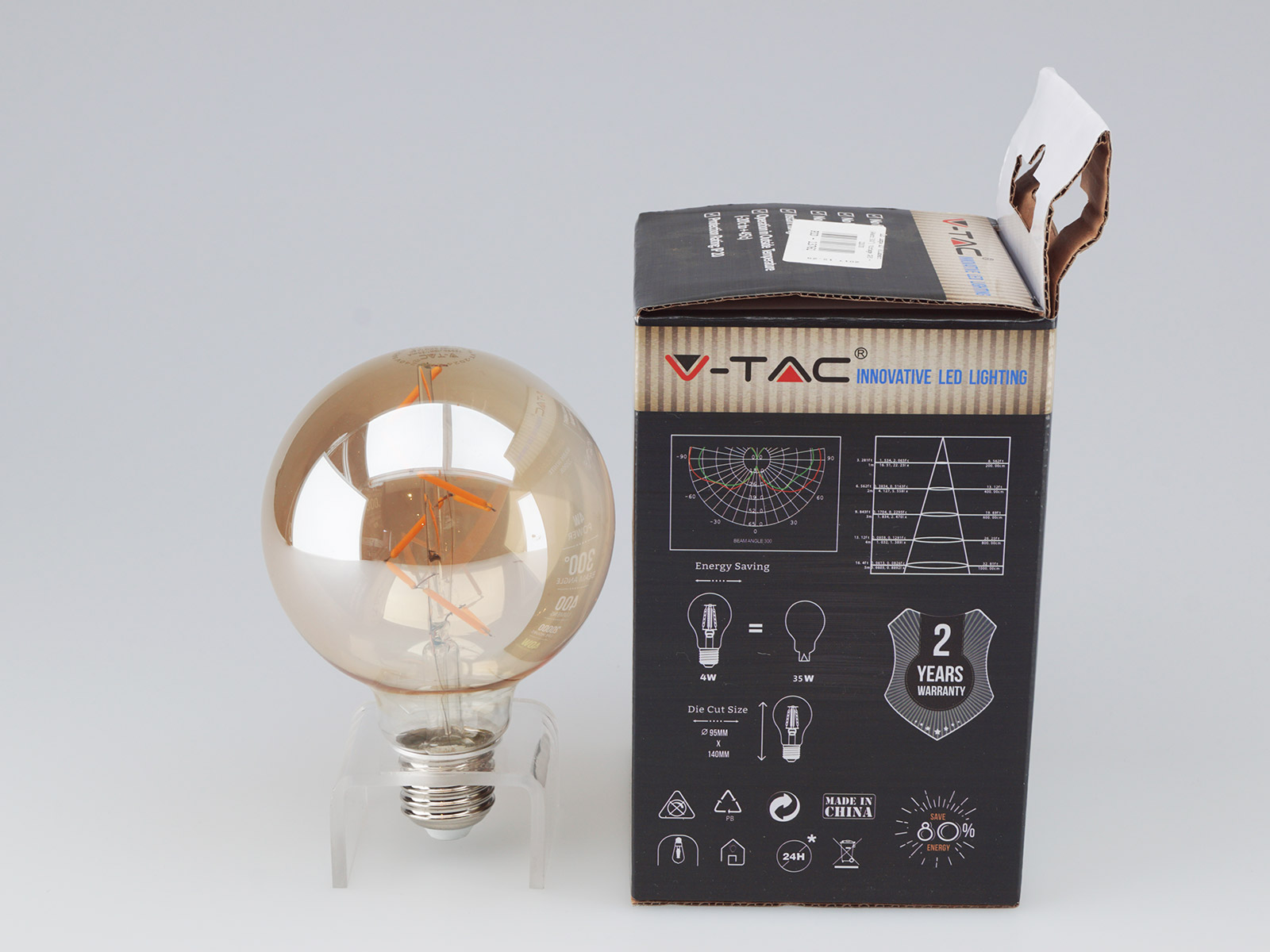 V-TAC E27 LED izzó Vintage filament (4W/300°) G95 - extra meleg fehér