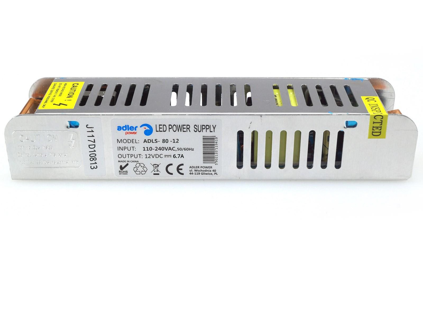 ADLER LED tápegység 12 Volt (80W/6.7A)