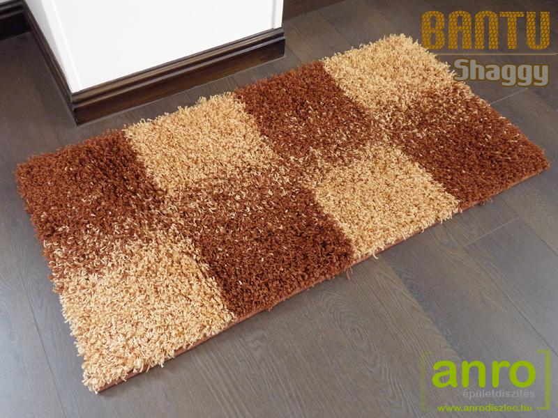 Függöny Center Shaggy Bantu szőnyeg 5 cm (52) terra kockás 40x70 cm