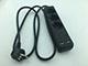 V-TAC Hosszabbító 3-as elosztóval (3 földelt + 2 USB) fekete - 5m vezetékkel