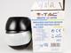 V-TAC Forgatható fejű infra mozgásérzékelő (IP44) - fekete