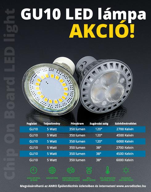 V-TAC LED lámpa GU10 (5Watt/38°) természetes fehér - Utolsók! - Ár: 399 Ft - LED lámpa 230 Volt ...