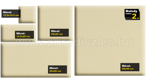 Kerma bőr falpanel, bőrpanel, BOSS-2 Bézs (25x25 cm)