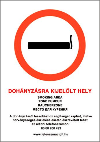 -Dohányzásra kijelölt hely, PVC tábla (30x21 cm, A/4 méret)
