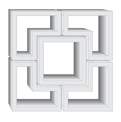 2ef1702831 ANRO - EPS fali polc szett - 5 részes (FP3) négyzet és L alakú - Ár ...
