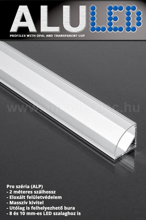 ALP-006 Aluminium sarok profil ezüst, LED szalaghoz, átlátszó burával