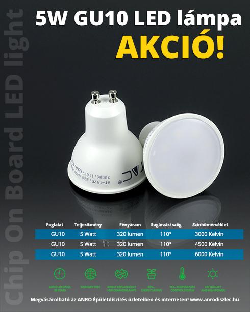 LED lámpa GU10 (5W/110°) meleg fehér