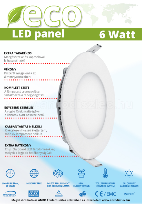 ECO LED panel (kör alakú) 6W - természetes fehér