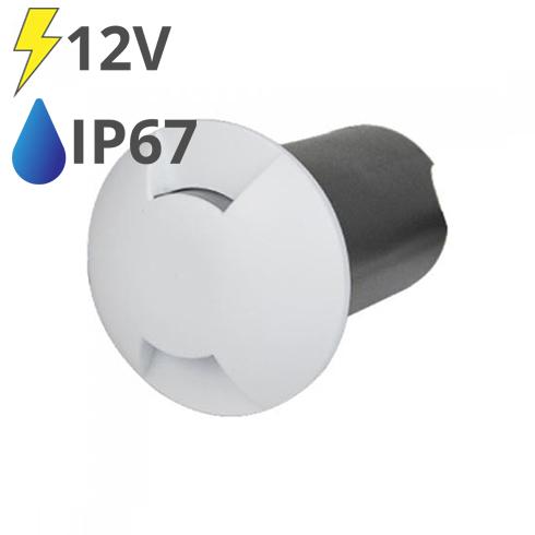 LED talajlámpa 2 nyílással, fehér burkolat (1W) meleg fehér IP67 - 12V!