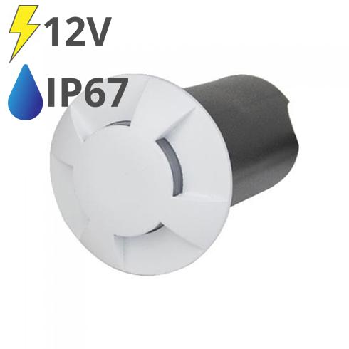 LED talajlámpa 4 nyílással, fehér burkolat (1W) hideg fehér IP67 - 12V!