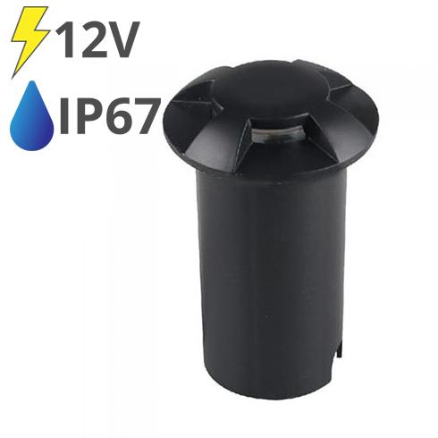 LED talajlámpa 4 nyílással, fekete burkolat (1W) hideg fehér IP67 - 12V!