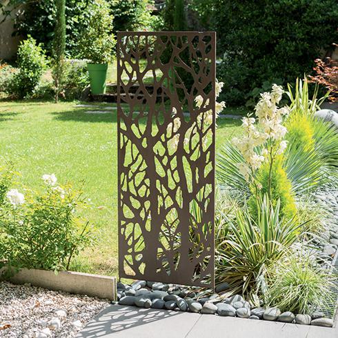 Dekorációs fém panel, leszúrható vagy falra szerelhető (150x60 cm) fa minta