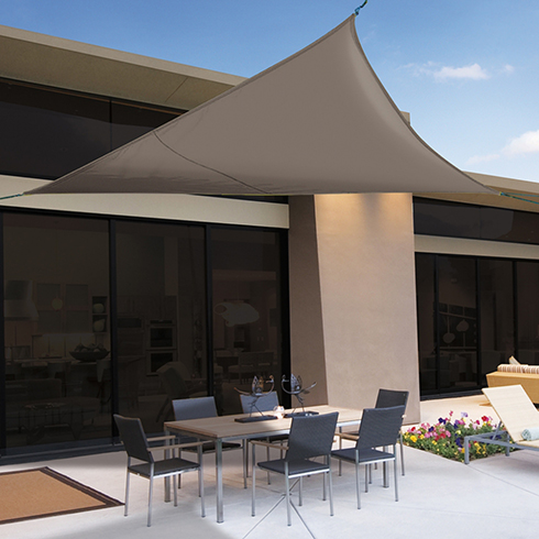 Sunnet Kit Polyester háromszög alakú napvitorla (árnyékoló) barna - 3.6 x 3.6 x 3.6 m