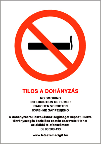 -Tilos a dohányzás, PVC tábla (30x21 cm, A/4 méret)