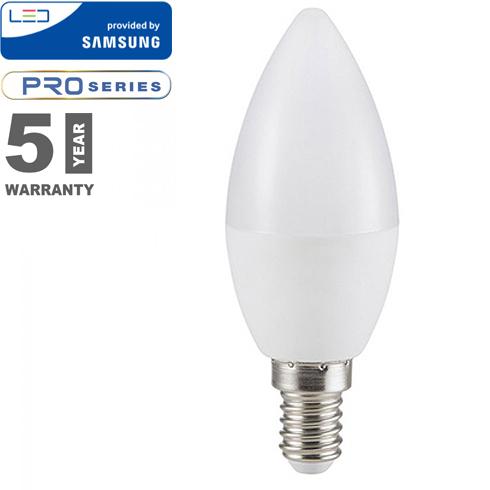 E14 LED lámpa (7W/200°) Gyertya - természetes fehér, PRO Samsung