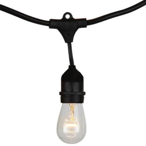 E27 foglalatos fényfüzér, fekete, IP54, 5 méter, 10 db izzóhoz