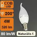 LED lámpa E14 (4Watt/200°) Láng - természetes fehér