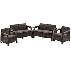 Corfu Rest műrattan kerti bútor szett (2+2) szófa és szék, barna - Ajándék bézs párnákkal!