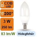 LED lámpa E14 (3Watt/200°) Gyertya - hideg fehér
