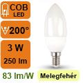LED lámpa E14 (3Watt/200°) Gyertya - meleg fehér
