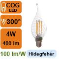 LED lámpa E14 Filament (4Watt/300°) Láng cs. - hideg fehér