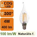 LED lámpa E14 Filament (4Watt/300°) Láng cs. - természetes f.