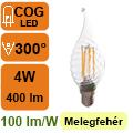 LED lámpa E14 Filament (4Watt/300°) Láng cs. - meleg fehér