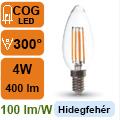 LED lámpa E14 Filament (4Watt/300°) Gyertya - hideg fehér
