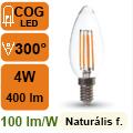 LED lámpa E14 Filament (4Watt/300°) Gyertya - természetes f.